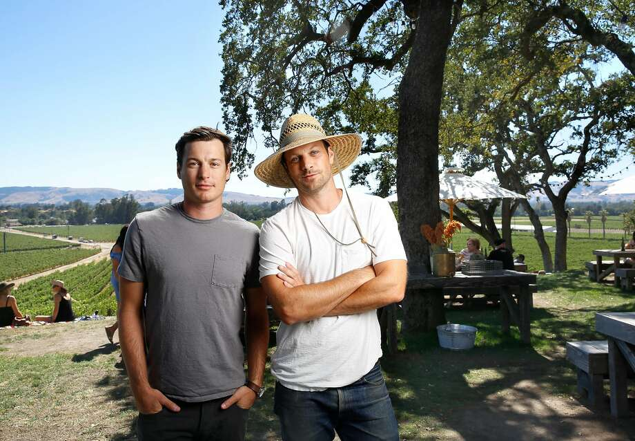 Brothers Andrew (right, wearing white t-shirt) and Adam (left, gray t-shirt) Mariani, co-owners of Scribe Winery in Sonoma. Photo: Craig Lee, Special To The Chronicle