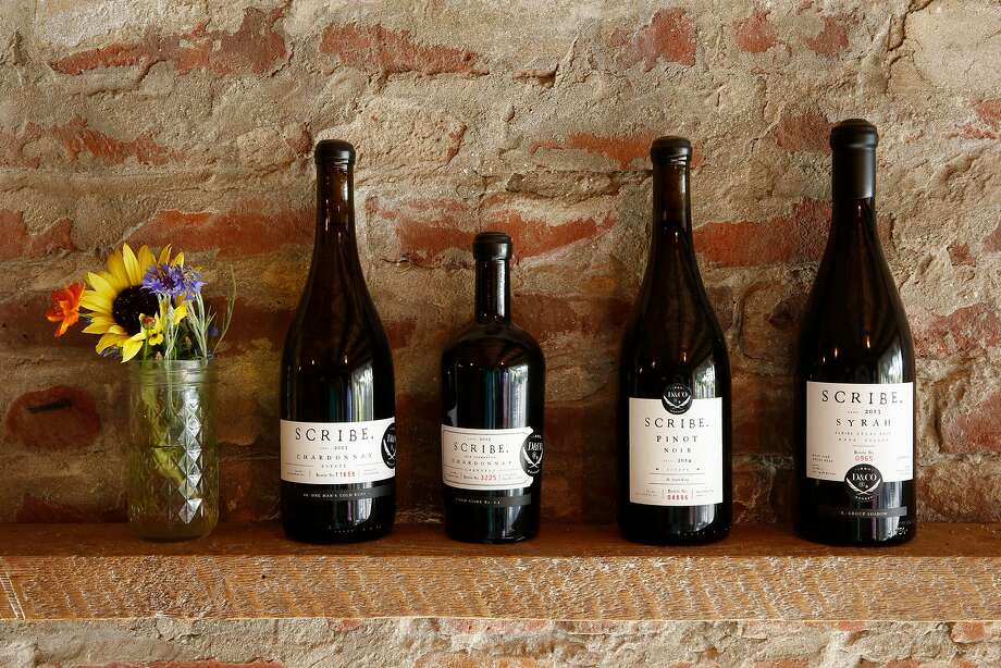 Scribe Winery's offerings include the 2013 Estate Chardonnay (left), 2015 Skin Fermented Chardonnay, 2014 Estate Pinot Noir and 2013 Atlas Peak Syrah. Photo: Craig Lee, Special To The Chronicle