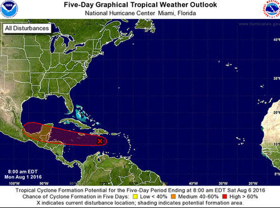 A satellite image from the National Weather Service shows the location of a tropical disturbance Monday, Aug. 1, 2016. The image indicates a high probability that a cyclone will form by Saturday, Aug. 6. Photo: National Weather Service Satellite Image