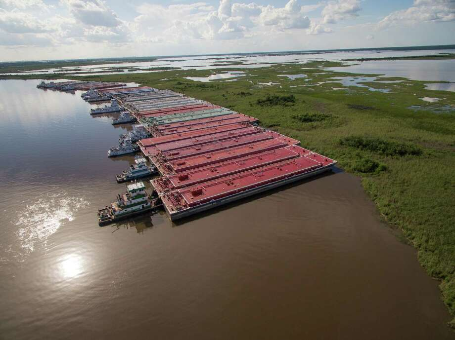 Rows of barges parked in the at the Bessie Heights Marsh. While permitted by the land owners to park in the area, the barges are not registered by the state to be there. Area conservationists wish the barges to be moved. Photo taken in June and provided by Tom Bell