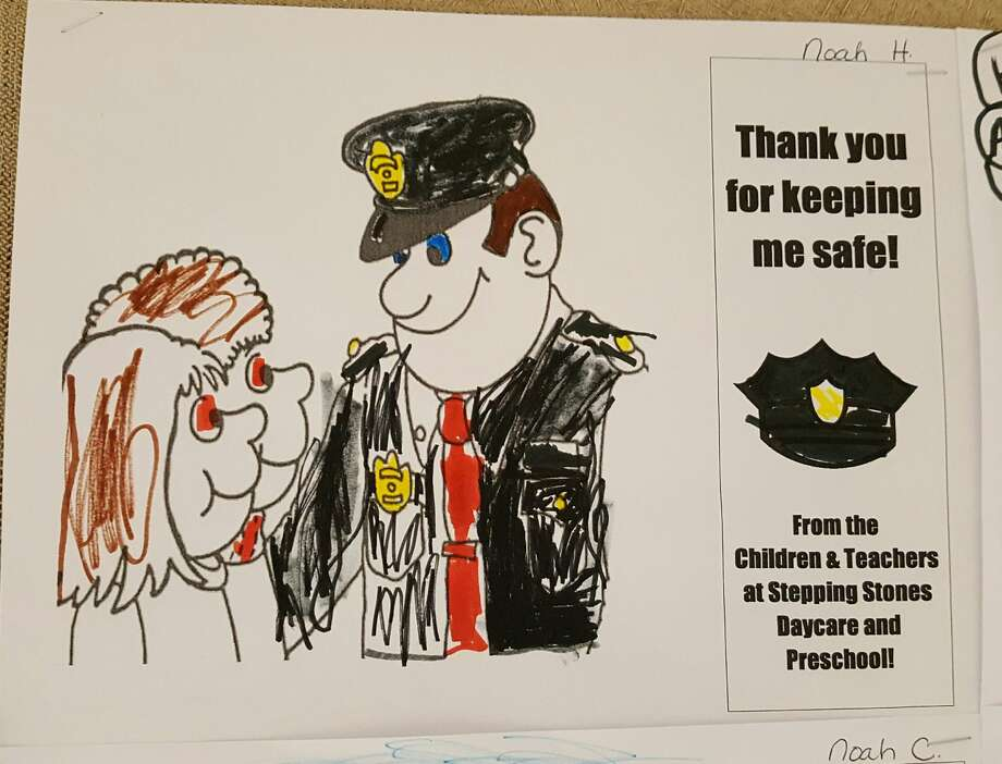 Community members have shown appreciation for Midland Police by sending and dropping off cards and drawings in the last few weeks. Photo: Kelly Dame Kdame@mdn.net