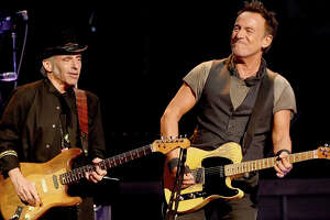 Nils Lofgren (left), onstage during a Bruce Springsteen concert in March, will peform a studio session concert at the Tobin Center for the Performing Arts.