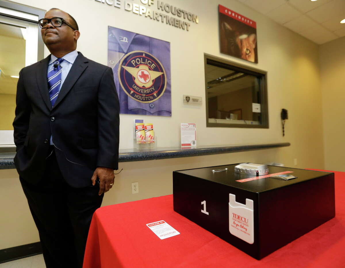 University of Houston Chief of Police Ceaser Moore, Jr. speaks to the media about the gun lockers at the UH police department, 3869 Wheeler Ave., available for on-site storage of handguns belonging to the faculty, staff, students, and visitors shown Monday, Aug. 1, 2016, in Houston.
