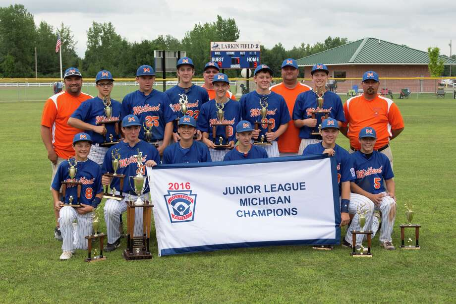 Midland's championship win against St Clair at the Junior League Baseball State championship game at Emerson Park Sunday. Photo: Steven Simpkins/for The Daily News