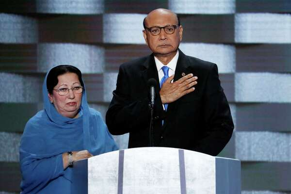 Khizr Khan, father of fallen US Army Capt. Humayun S. M. Khan and his wife Ghazala speak during the final day of the Democratic National Convention in Philadelphia on July 28.