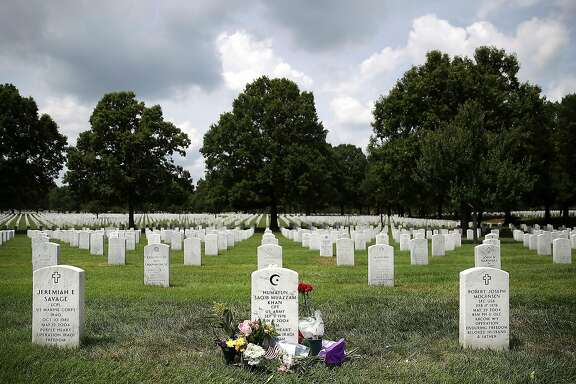 ARLINGTON, VA - AUGUST 01:  The gravesite of Muslim-American, U.S. Army Capt. Humayun Khan is shown at Arlington National Cemetary August 1, 2016 in in Arlington, Virginia. Khan was killed during Operation Iraqi Freedom in 2004. Khan's mother and father were criticized by Republican presidential candidate Donald Trump after their appearance onstage at the Democratic National Convention in Philadelphia last week.  (Photo by Mark Wilson/Getty Images)