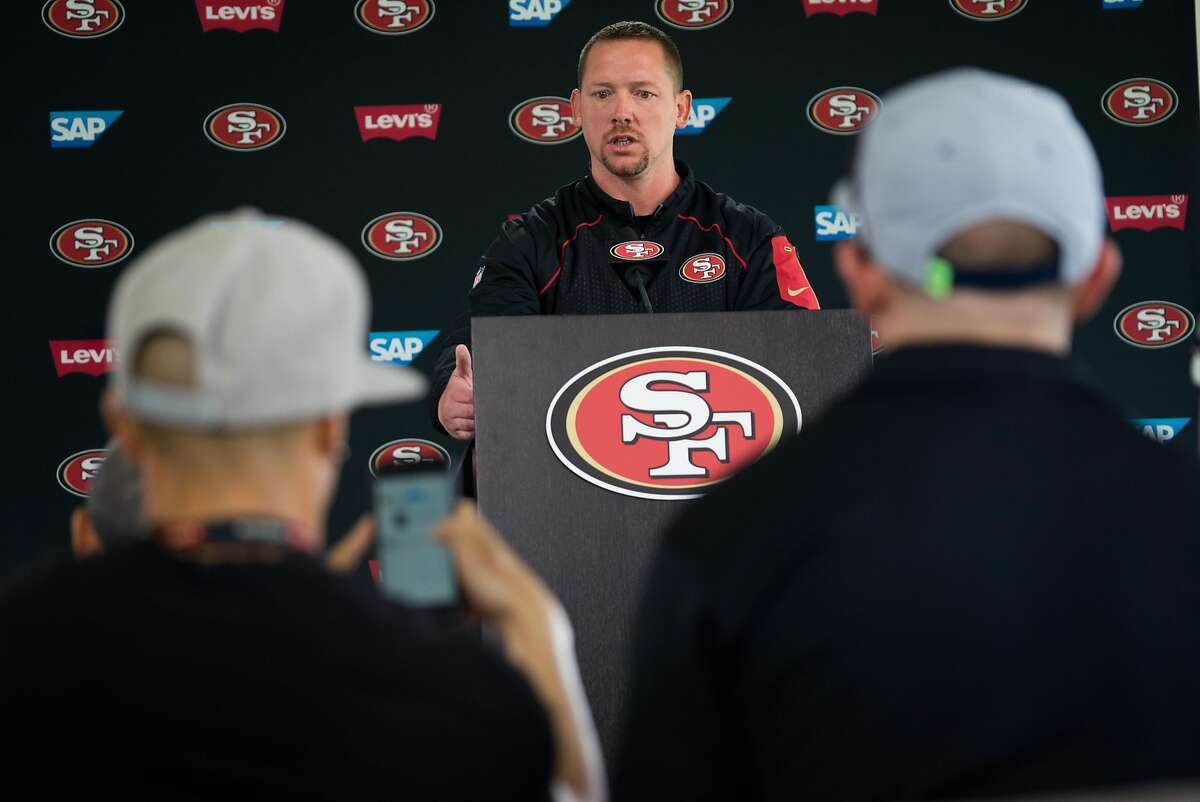 49ers Defensive Coordinator Jim O'Neil addresses the media before a practice at Levi's Stadium on Monday, Aug. 1, 2016.