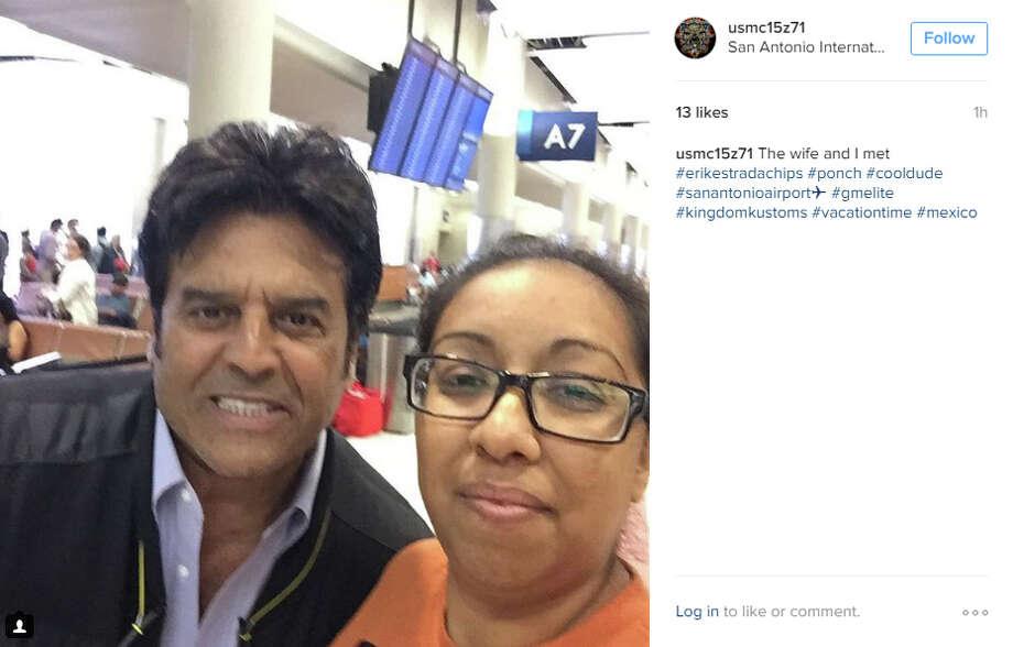 Erik Estrada at the San Antonio International Airport on Monday, August 1, 2016. Photo: Instagram