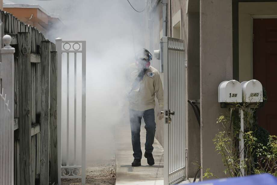 A Miami-Dade County mosquito control worker sprays around a home in the Wynwood area of Miami after a small cluster of the Zika virus was discovered in Florida. Photo: Alan Diaz, Associated Press