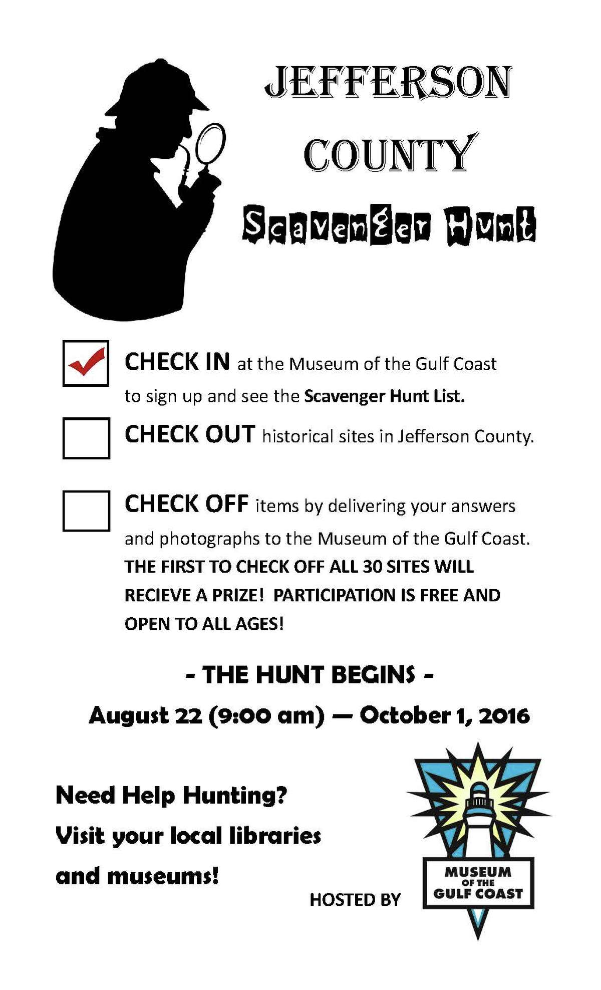 The Museum of the Gulf Coast and The Jefferson County Historical Commission will host the Jefferson County scavenger hunt to promote historical sites in the county.