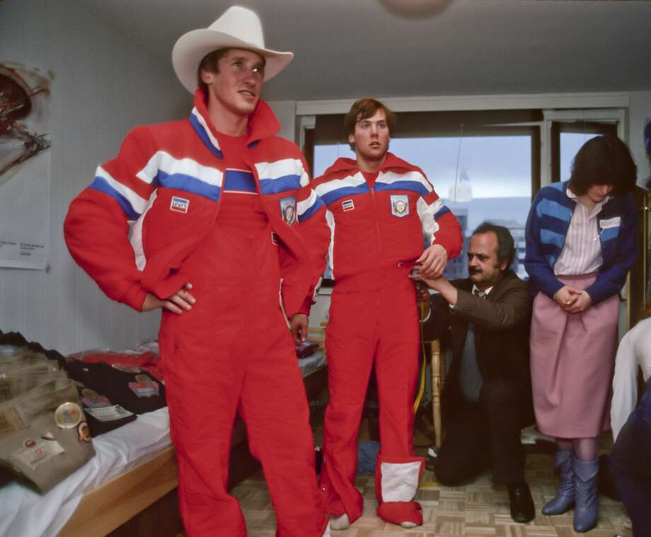 No mistaking these cowboys for any other country but the USA. Here, alpine skiers Bill Johnson and Doug Lewis  try on their Olympic uniforms prior to the 1984 Winter Olympics held in Sarajevo. Photo: David Madison/Getty Images