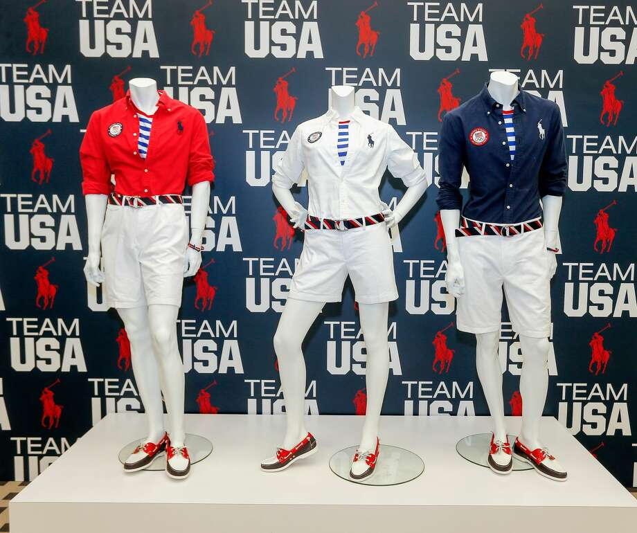 This year's Olympic uniform is red, white and blue everything, from the pattern of the belts to the accents on the Ralph Lauren tops. Photo: Bob Levey/Getty Images For USOC