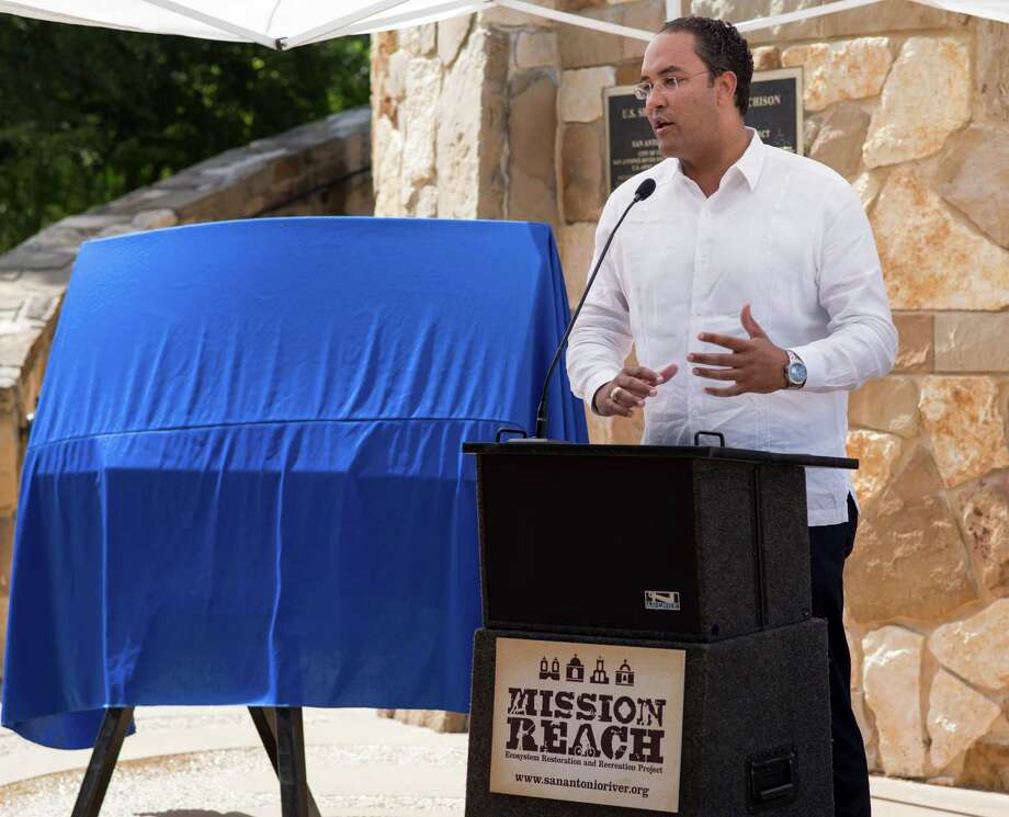Rep. Will Hurd (R-Tex) speaks during a ceremony to mark the beginning of Federal reimbursements for the Mission Reach ecosystem restoration completed by Bexar County and the San Antonio River Authority, Monday, Aug. 1, 2016, at Concepcion Park in San Antonio. (Darren Abate/For the Express-News) Photo: Darren Abate, STR / Darren Abate/For The Express-News