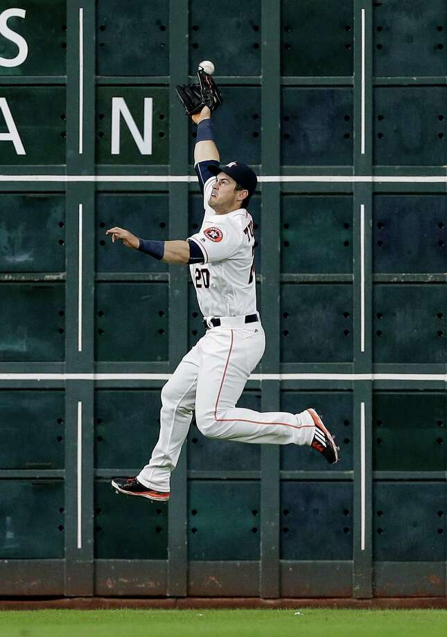 Aug 1: Astros 2, Blue Jays 1HOUSTON, TX - AUGUST 01:  Preston Tucker #20 of the Houston Astros has a line drive by Devon Travis #29 of the Toronto Blue Jays go off the top of his glove in the third inning for a double at Minute Maid Park on August 1, 2016 in Houston, Texas. Photo: Bob Levey, Getty Images / 2016 Getty Images