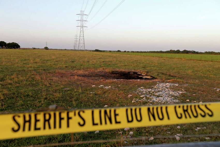 A view of the hot air balloon crash site, Monday Aug. 1, 2016, where 16 people were killed on Saturday July 30, 2016 near Maxwell, Texas in Caldwell County.