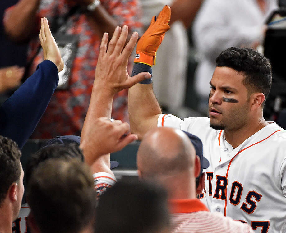 Houston Astros' Jose Altuve celebrates his solo home run off Toronto Blue Jays starting pitcher Marcus Stroman in the sixth inning of a baseball game, Monday, Aug. 1, 2016, in Houston. (AP Photo/Eric Christian Smith) Photo: Eric Christian Smith, Associated Press / FR171023 AP