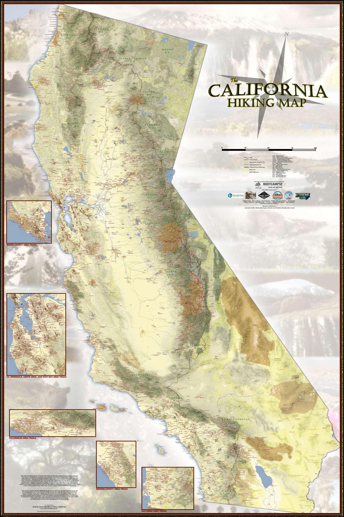 The full California Hiking Map.