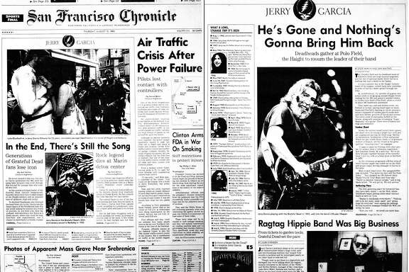The Chronicle's front page and Datebook section cover the death of Grateful Dead frontman Jerry Garcia.