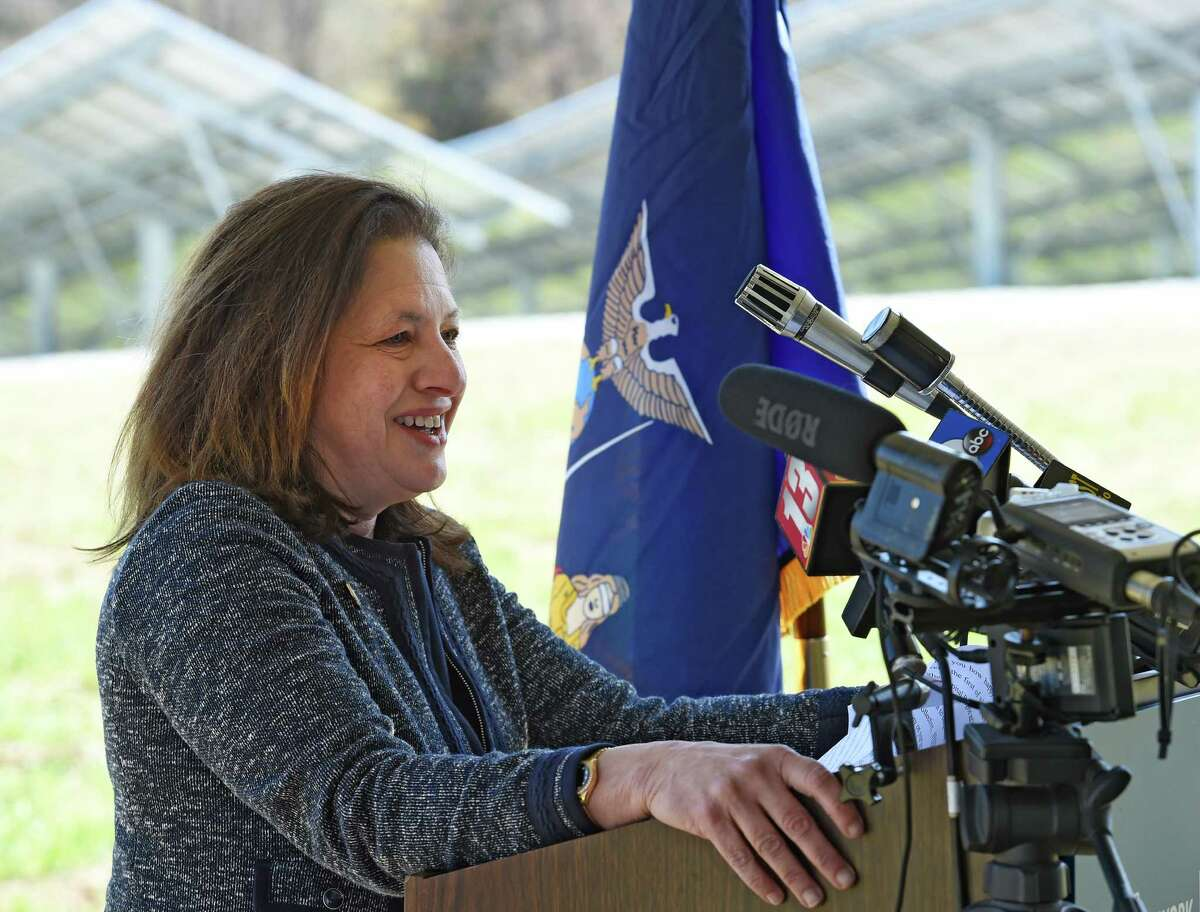 Audrey Zibelman, chair of the state Public Service Commission, speaks at the groundbreaking ceremony launching the first shared renewables solar project in the state on Wednesday, April 27, 2016, in Halfmoon, N.Y. (Skip Dickstein/Times Union archive)