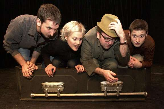 SKETCH03a-C-29DEC01-DD-RAD Photo by Katy Raddatz--The Chronicle Local comedy groups get together for a 3 week festival at the Shelton Theater 533 Sutter St. SF.  SHOWN:  group in coffin are the Totally  False People L to R  Gabriel Diani, Janet Varney, David Owen, Cole Stratton.