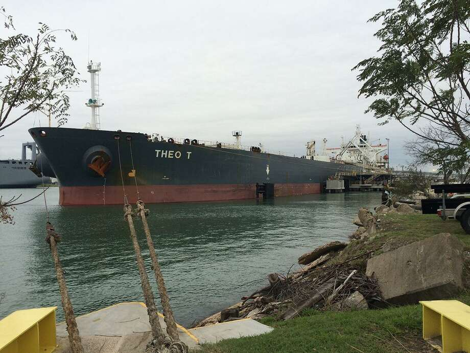 The Theo T crude oil tanker is loaded with Eagle Ford oil at NuStar Energy LP's in December 2015. The Theo T was the first tanker to export crude oil in nearly 40 years. Photo: NuStar Energy LP