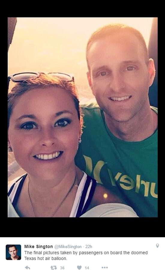 "Click ahead to learn more about the victims of the fatal crash July 30, 2016.Sunday, left, and Matt Rowan, right, were newlyweds who were killed July 30, 2016 in a hot air balloon crash in Lockhart. They shared this image with their family moments before the crash.@MikeSington: ""The final pictures taken by passengers on board the doomed Texas hot air balloon."" Photo: Courtesy/Twitter"