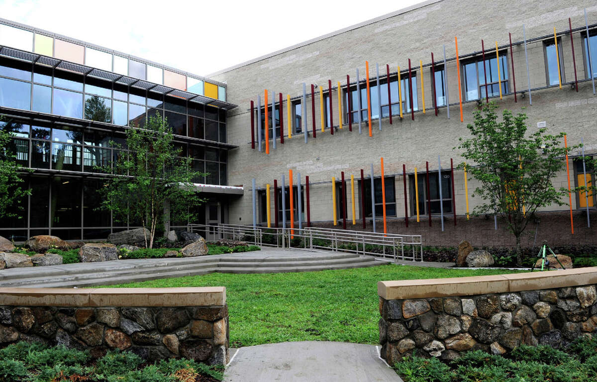 A view of a couryard at the new Sandy Hook School