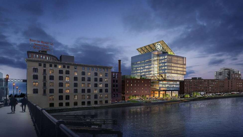 A rendering of General Electric Co. headquarters in Boston. Analysts cite tax rates as the reason for moving the corporate headquarters from Connecticut to Massachusetts.