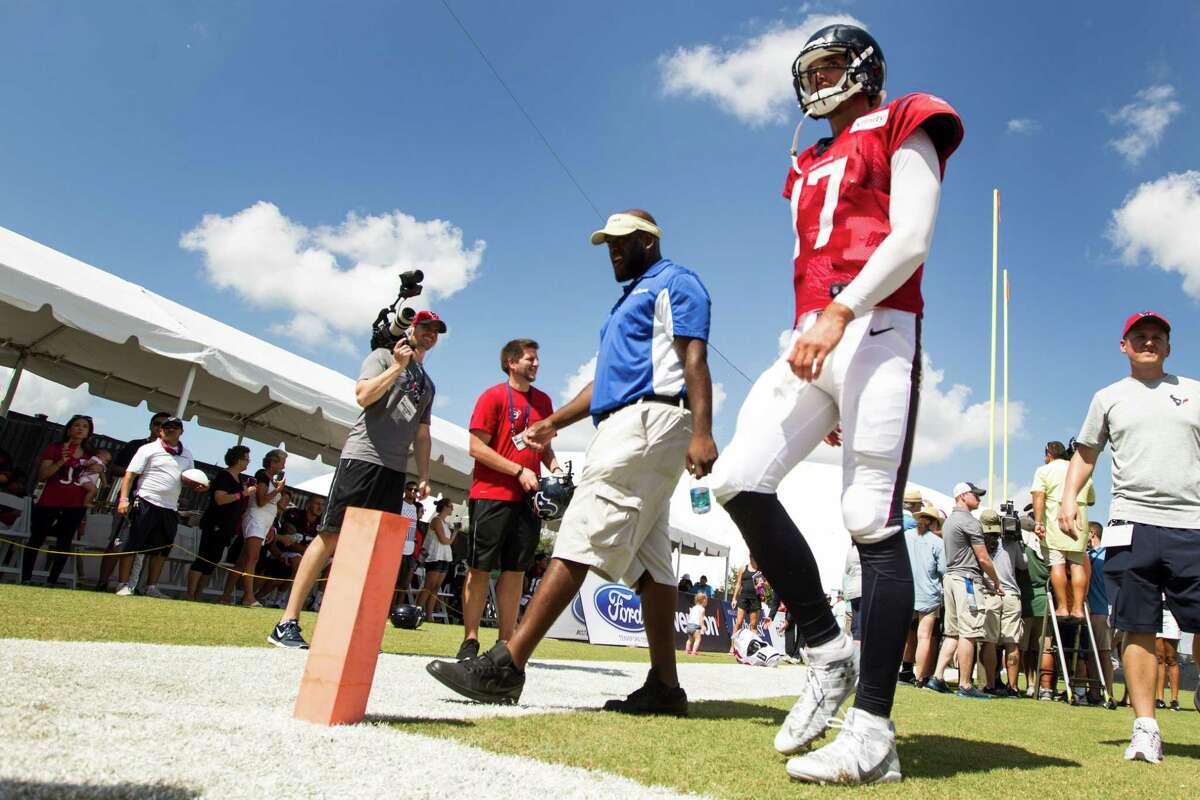 Houston Texans quarterback Brock Osweiler (17) walks off the field at the end of practice during Texans training camp at Houston Methodist Training Center on Tuesday, Aug. 2, 2016, in Houston.