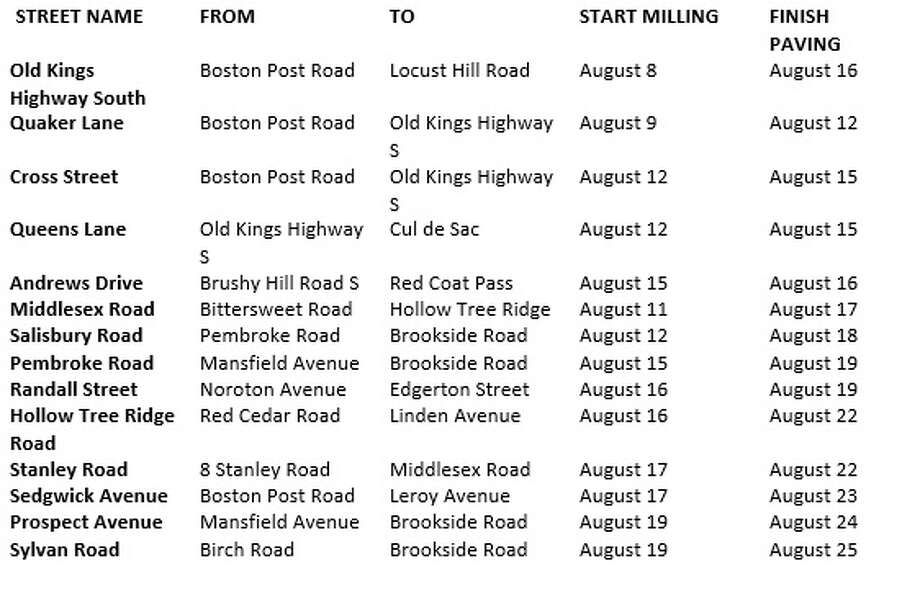 Here is the paving schedule for Darien, CT as of Tuesday, August 2, 2016. Photo: Erin Kayata / Hearst Connecticut Media / Darien News