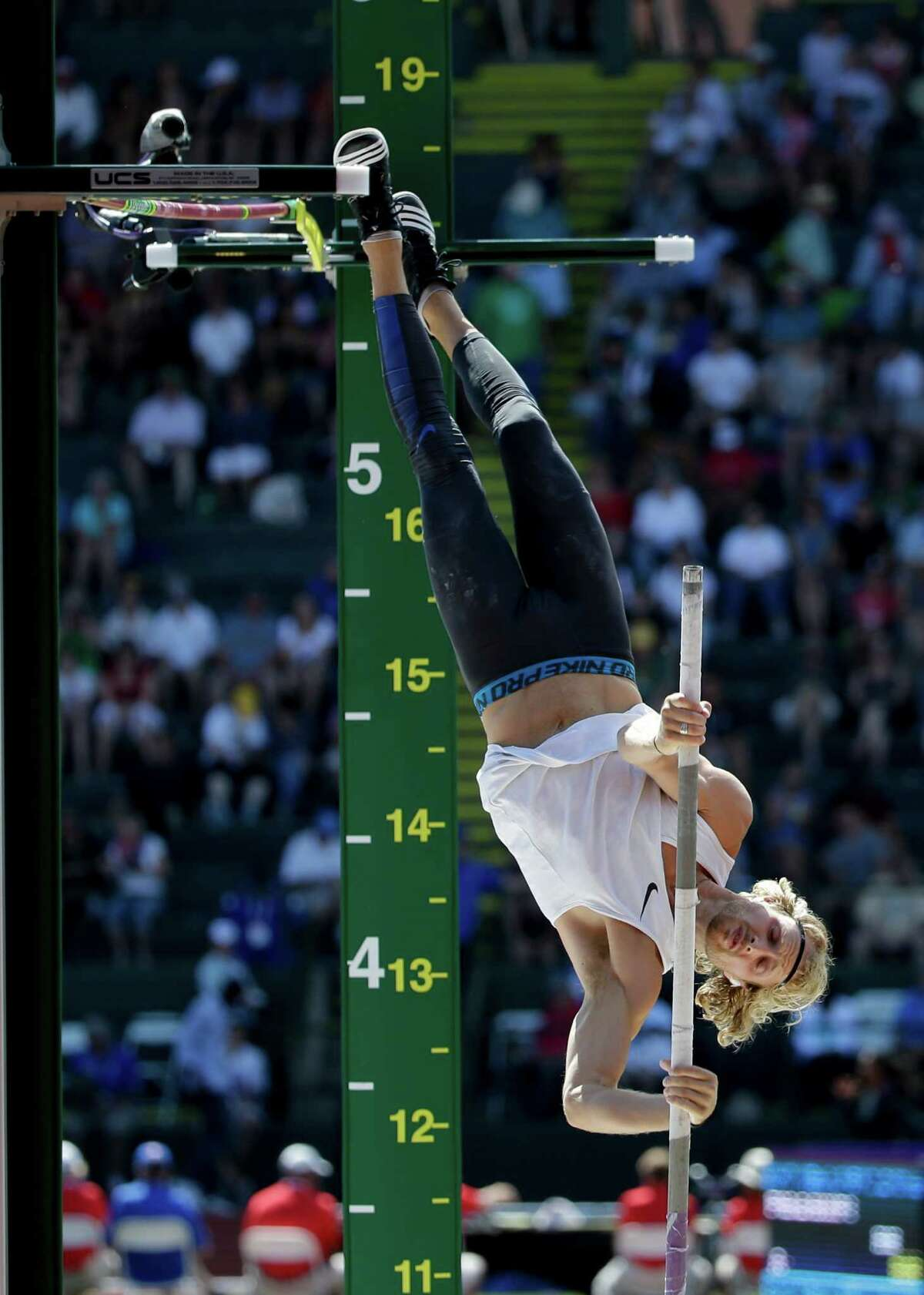 Logan Cunningham competes during the men?'s pole vault event at the U.S. Olympic Track and Field Trials, Monday, July 4, 2016, in Eugene Ore. (AP Photo/Marcio Jose Sanchez)