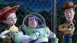 "In this film publicity image released by Disney, from left, Jessie, voiced by Joan Cusack, Buzz Lightyear, voiced by Tim Allen and Woody, voiced by Tom Hanks are shown in a scene from ""Toy Story 3."" The film was nominated for an Academy Award for best film, Tuesday, Jan. 25, 2011. The Oscars will be presented Feb. 27 at the Kodak Theatre in Hollywood. (AP Photo/Disney Pixar) NO SALES"