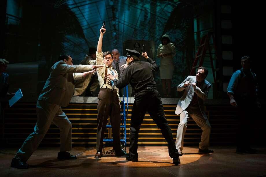 Stine (Jeffrey Brian Adams, center) tries to regain control of rehearsals. Photo: Jessica Palopoli, San Francisco Playhouse