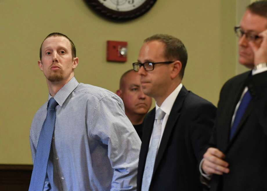 Jacob Heimroth, left, with attorneys Trevor Hannigan and Joe Ahearn, right, during opening statements in his trial for murder at Rensselaer County Court on Tuesday Aug. 2, 2016 in Troy, N.Y. (Michael P. Farrell/Times Union) Photo: Michael P. Farrell / 20037520A