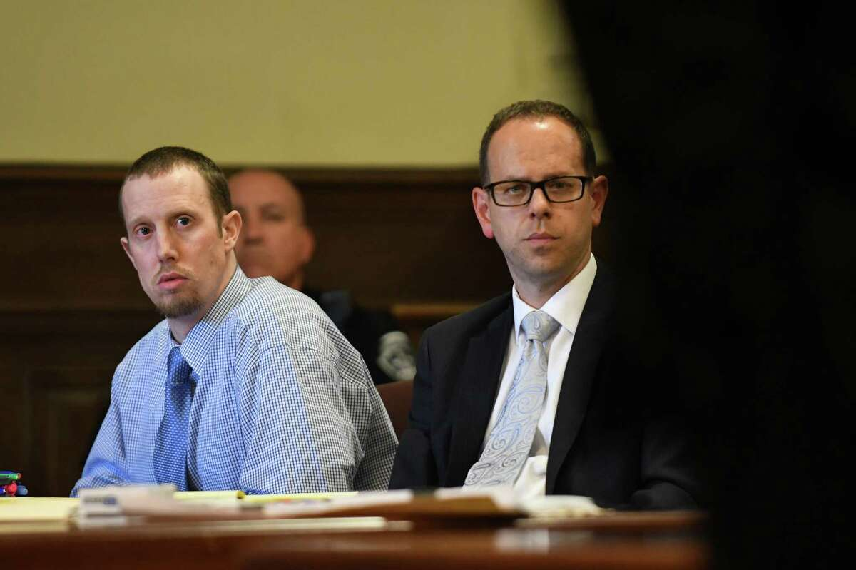 Jacob Heimroth, left, with attorney Trevor Hannigan during opening statements in his trial for murder at Rensselaer County Court on Tuesday Aug. 2, 2016 in Troy, N.Y. (Michael P. Farrell/Times Union)