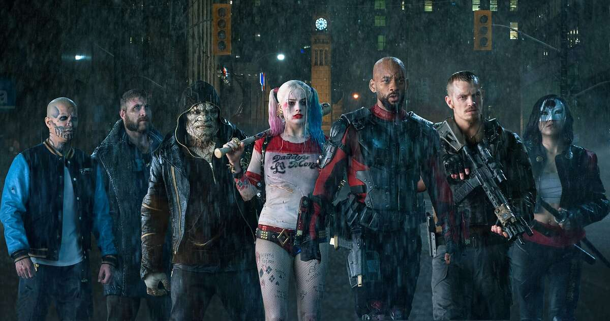 This image released by Warner Bros. Pictures shows, from left, Jay Hernandez as Diablo, Jai Courtney as Boomerang, Adewale Akinnuoye-Agbaje as Killer Croc, Margot Robbie as Harley Quinn, Will Smith as Deadshot, Joel Kinnaman as Rick Flag and Karen Fukuhara as Katana in a scene from