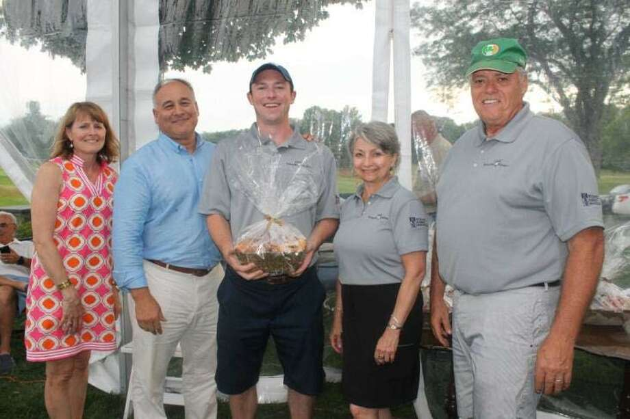 From left, Colonie Senior Service Centers' Kristin Vivian, staff chairwoman; Peter Campito, Board President; Steve Muth of M&T Bank, Board Chaiman; Karmel DeStefano, Development Director; and Ed Neary, Executive Director; gather at the 23rd Annual Salvatore R. & Anna E. Beltrone Golf Classic at Schuyler Meadows Club on July 25, 2016. (provided photo)