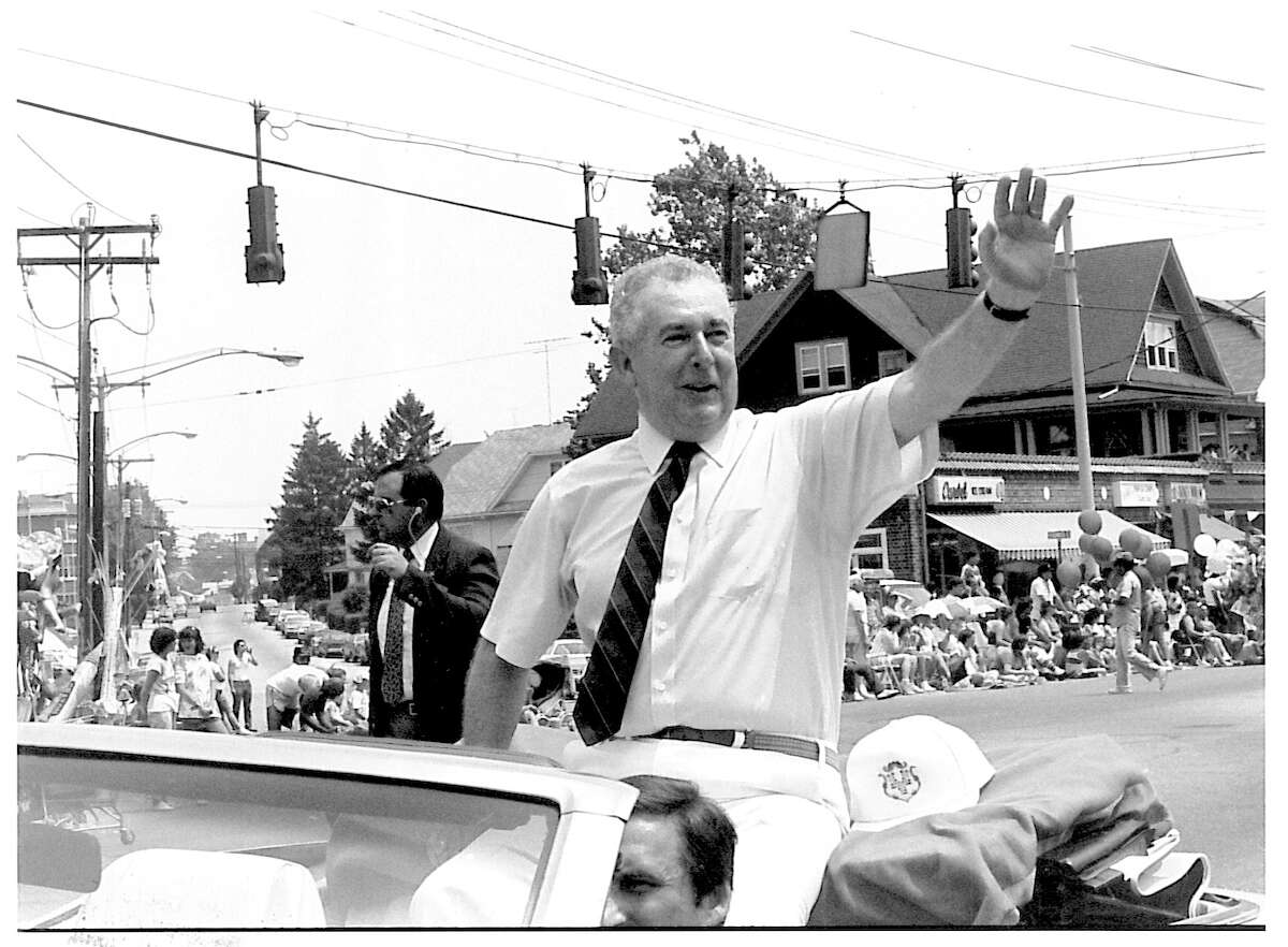 Governor William O'Neill, in Bridgeport, Conn., date unknown. O'Neill (1930 - 2007), served as Governor from 1980 to 1991.