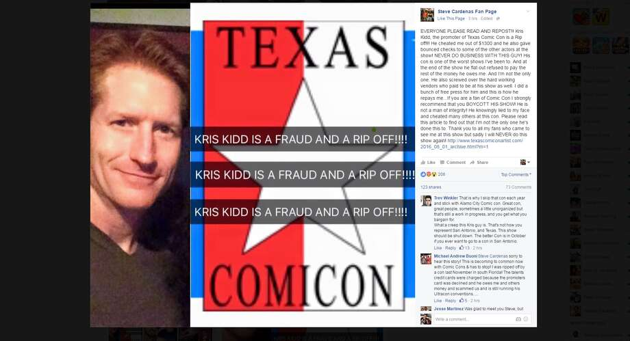 "A screen shot of Steve Cardenas Facebook post calling Texas Comicon founder Kris Kidd ""a fraud and rip off."""