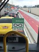 Traffic bottlenecks at the vehicular entrance to the Olympic Park in Rio de Janiero on Tuesday.