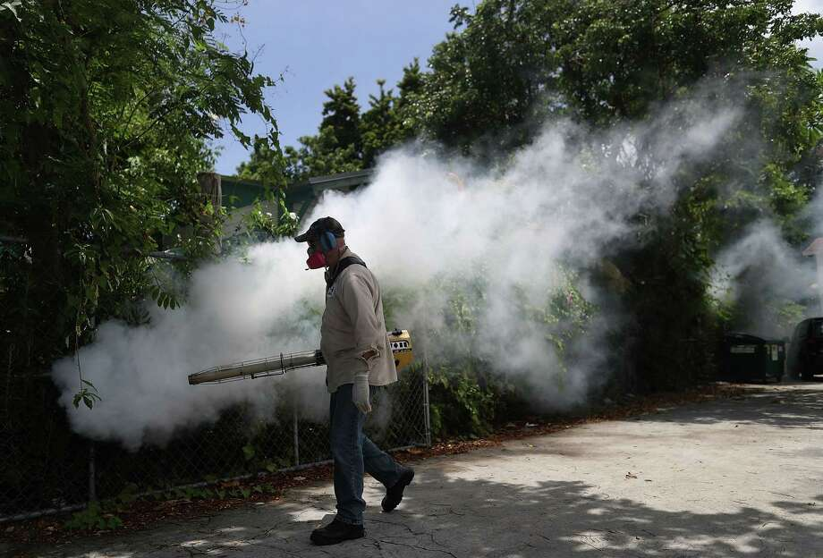 MIAMI, FL - AUGUST 02:  Carlos Varas, a Miami-Dade County mosquito control inspector, uses a Golden Eagle blower to spray pesticide to kill mosquitos in the Wynwood neighborhood as the county fights to control the Zika virus outbreak on August 2, 2016 in Miami, Florida. There is a reported 14 individuals who have been infected with the Zika virus by local mosquitoes.  (Photo by Joe Raedle/Getty Images) Photo: Joe Raedle / 2016 Getty Images