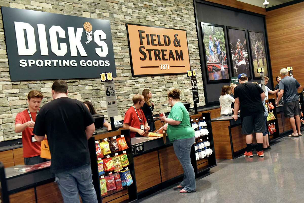 Combined checkout counters for Field & Stream and Dick's Sporting Goods on Tuesday, Aug. 2, 2016, at Latham Farms in Latham, N.Y. (Cindy Schultz / Times Union)