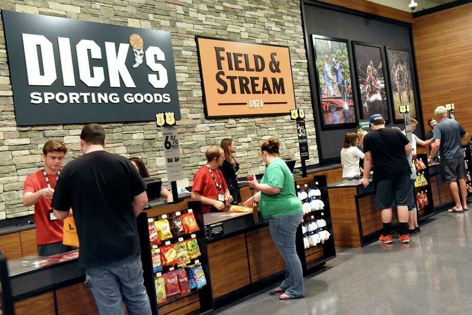 Combined checkout counters for Field & Stream and Dick's Sporting Goods on Tuesday, Aug. 2, 2016, at Latham Farms in Latham, N.Y. (Cindy Schultz / Times Union) Photo: Cindy Schultz / Albany Times Union