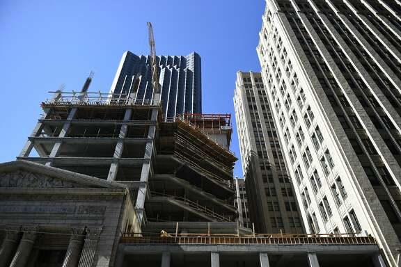 New office development is constructed on 350 Bust St. on Tuesday, August 2, 2016 in San Francisco, California.