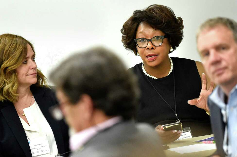 Deborah Wortham, superintendent at East Ramapo Central School District, second from right, speaks in a breakout session during New York State Community Schools Network Convening on Tuesday, Aug. 2, 2016, at UAlbany East Campus in Rensselaer, N.Y. Community school partners from across the state gathered to determine a statewide vision for their schools. (Cindy Schultz / Times Union)
