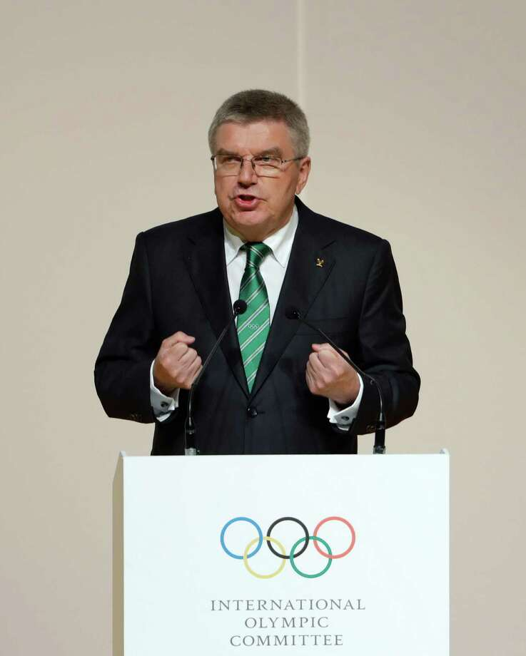 International Olympic Committee President Thomas Bach speaks during the Opening Ceremony of the IOC Session at the 2016 Summer Olympics at the Cidade das Artes in Rio de Janeiro, Brazil, Monday, Aug. 1, 2016. (AP Photo/David Goldman) ORG XMIT: OGOL113 Photo: David Goldman / Copyright 2016 The Associated Press. All rights reserved. This m