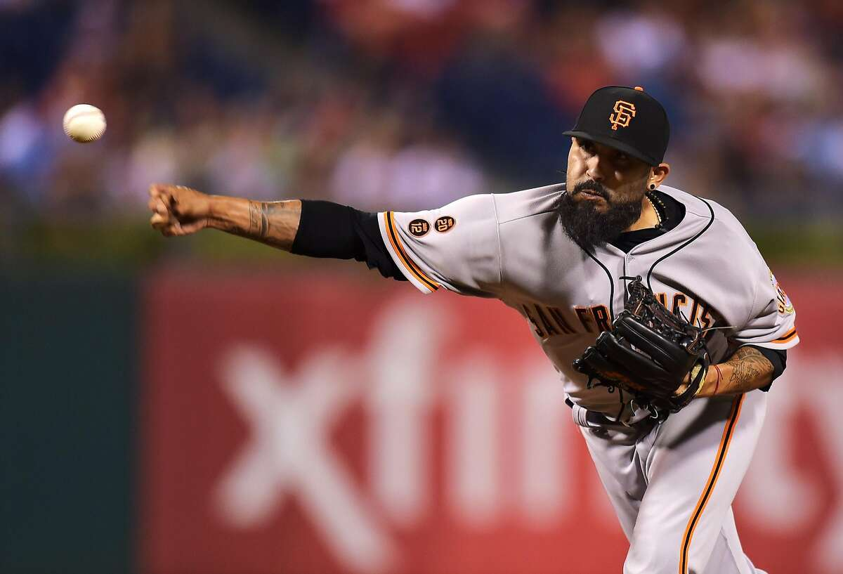 PHILADELPHIA, PA - AUGUST 02: Sergio Romo #54 of the San Francisco Giants delivers a pitch in the eighth inning against the Philadelphia Philliesat Citizens Bank Park on August 2, 2016 in Philadelphia, Pennsylvania. The Phillies won 13-8. (Photo by Drew Hallowell/Getty Images)