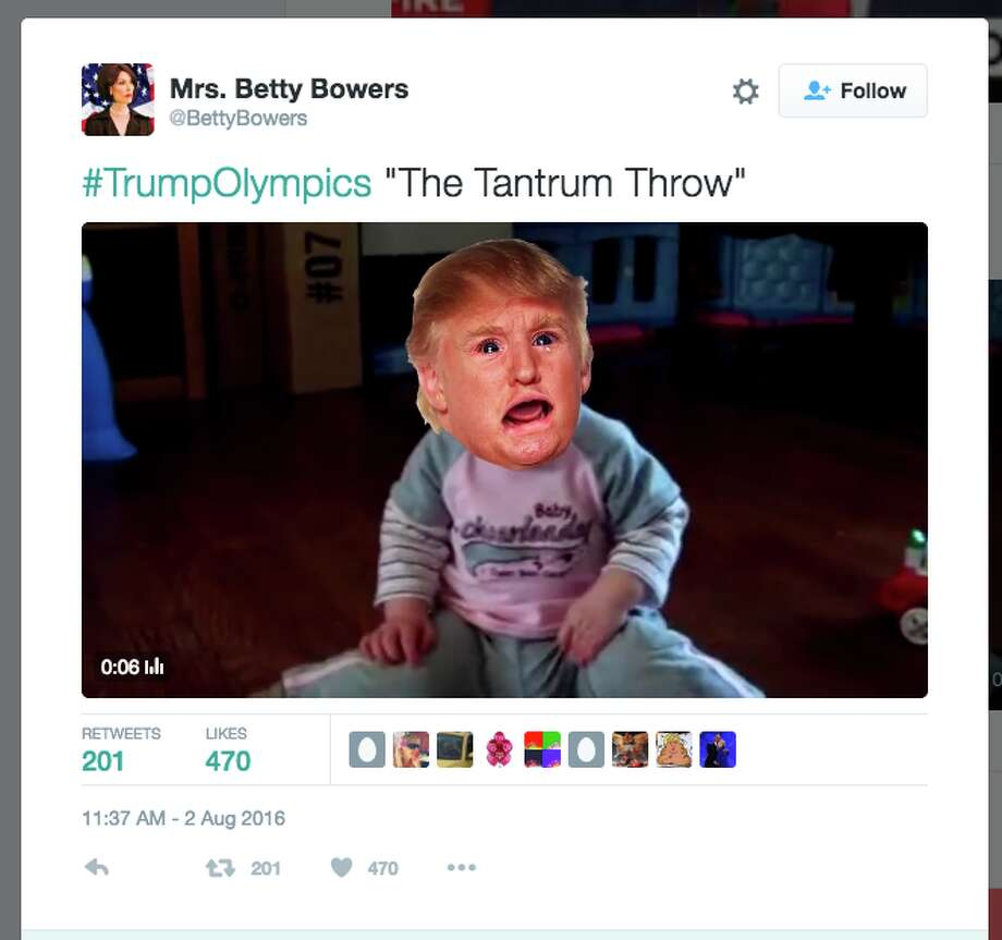 The hashtag #TrumpOlympics imagines Olympic sports Donald Trump would excel at. Here's a selection of tweets. Photo: Twitter Screen Shot