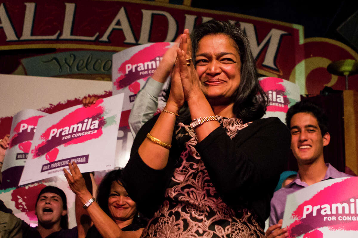 Seventh Congressional District candidate Pramila Jayapal acknowledges the cheering crowd before speaking at Hale's Palladium on Tuesday, Aug. 2, 2016.