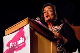 7th Congressional District senate candidate Pramila Jayapal speaks to her supporters at Hale's Palladium on Tuesday, Aug. 2, 2016.